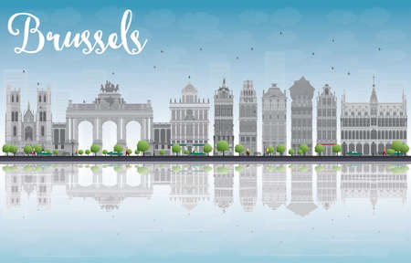 Brussels skyline with Ornate buildings of Grand Place and reflections. Vector illustration Ilustrace