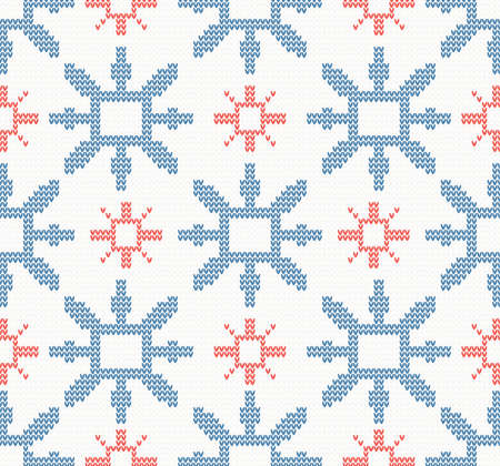 warmly: Christmas knitted seamless pattern with blue and red snowflakes on a white background