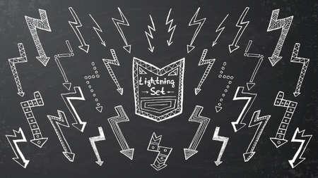 forked: Set of hand drawn lightning on black background. Vector illustration