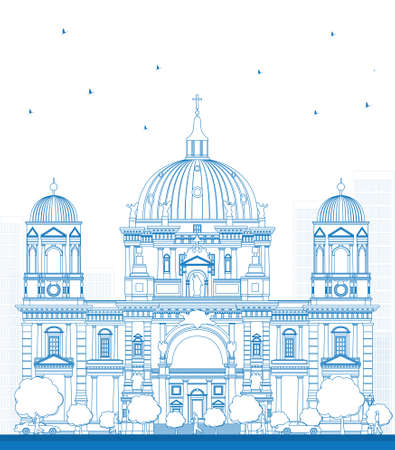 neoclassical: Outline Berlin Cathedral in Berlin, Germany. Vector Illustration Illustration