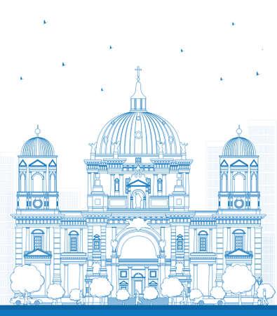 germanic: Outline Berlin Cathedral in Berlin, Germany. Vector Illustration Illustration