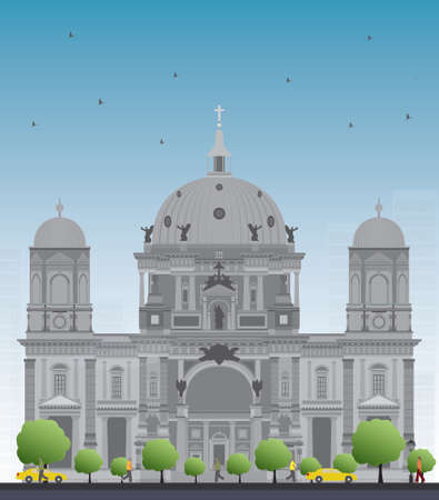 collegiate: Berlin Cathedral in Berlin, Germany. Vector Illustration