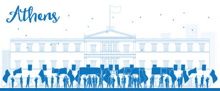 protesting: Greek protesting in front of the Greek Parliament in Athens,Greece. Outline  vector illustration