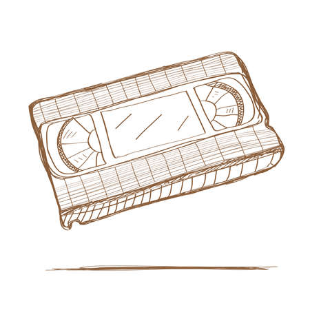 vhs videotape: Hand drawn video tape. Vector illustration