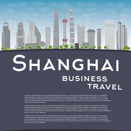 grey sky: Shanghai skyline with blue sky, grey skyscrapers and copy space. Business travel concept. Vector illustration Illustration
