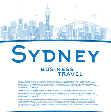 sydney skyline: Outline Sydney City skyline with blue skyscrapers and copy space. Business travel concept. Vector illustration