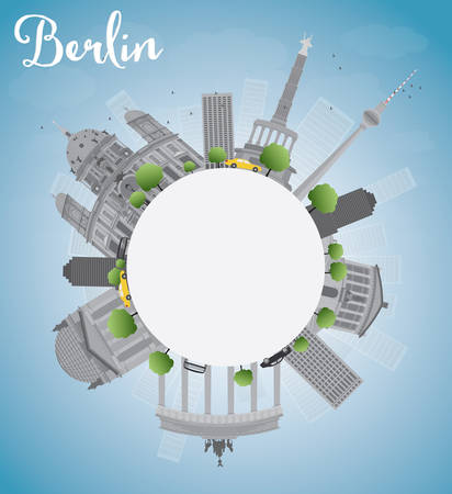 copy: Berlin skyline with grey building, blue sky and copy space. Vector illustration
