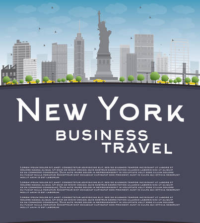 new york skyline: New York city skyline with blue sky, clouds and copy space. Business travel concept. Vector illustration