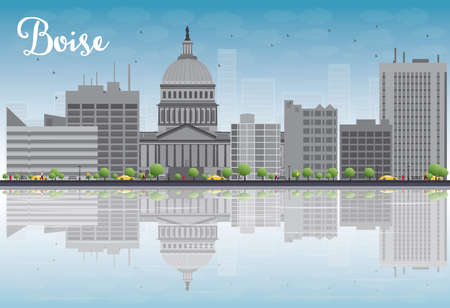 reflections: Boise Skyline with Grey Building, Blue Sky and reflections. Vector Illustration