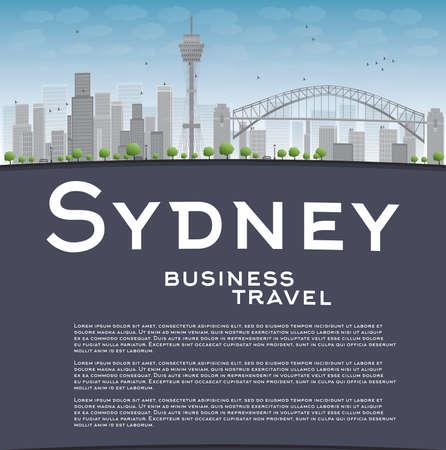 sydney skyline: Sydney City skyline with blue sky, skyscrapers and copy space. Business travel concept. Vector illustration