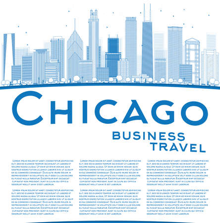 chicago skyline: Outline Chicago city skyline with blue skyscrapers and copy space. Business travel concept. Vector illustration Illustration