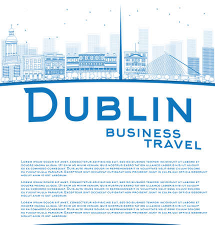 irish cities: Outline Dublin Skyline with Blue Buildings and copy space. Ireland. Business travel concept. Vector Illustration