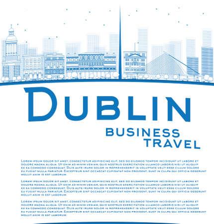 business travel: Skizzieren Dublin Skyline mit Blue Buildings und Kopie Raum. Irland. Gesch�ftsreisen Konzept. Vector Illustration
