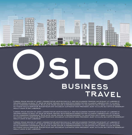 Oslo Skyline with Grey Building Blue Sky and copy space. Business travel concept. Vector Illustration