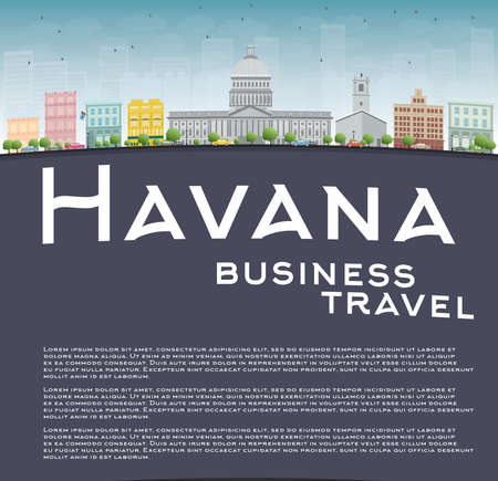 havana cuba: Havana Skyline with Color Building, Blue Sky and copy space. Business travel concept. Vector Illustration Illustration