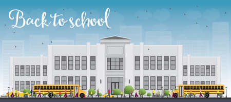 townhouses: Landscape with school bus, school building and people. Vector illustration