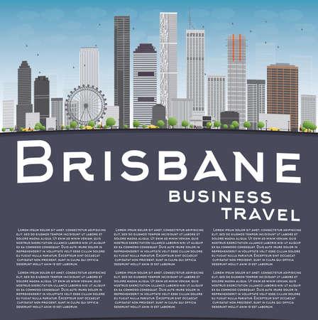 australia landscape: Brisbane skyline with grey building, blue sky and copy space. Business travel concept. Vector illustration