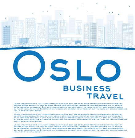 Outline Oslo Skyline with Blue Buildings and copy space. Business travel concept. Vector Illustration Ilustração