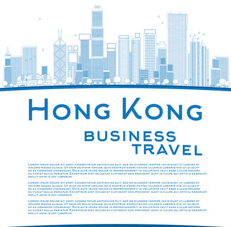 hong kong: Outline Hong Kong skyline with blue buildings and copy space. Business travel concept. Vector illustration