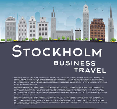 grey sky: Stockholm Skyline with Grey Buildings, Blue Sky and copy space. Business travel concept. Vector Illustration