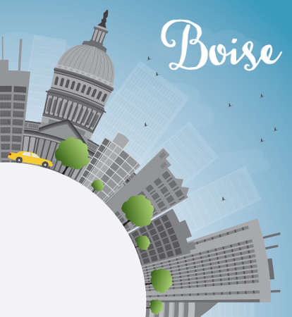 grey sky: Boise Skyline with Grey Building, Blue Sky and copy space. Vector Illustration