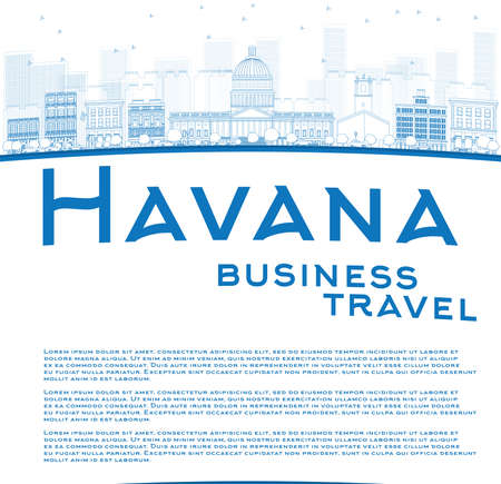 havana cuba: Outline Havana Skyline with Blue Building and copy space. Business travel concept. Vector Illustration Illustration