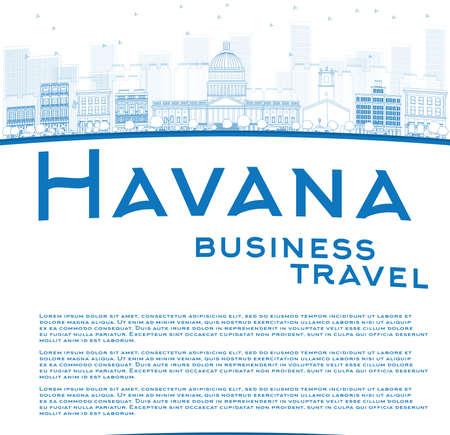 business travel: Skizzieren Havanna Skyline mit Blue Building und Kopie Raum. Gesch�ftsreisen Konzept. Vector Illustration