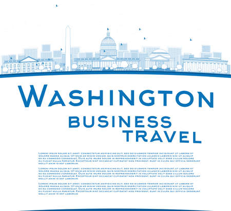 district of columbia: Outline Washington DC city skyline with copy space. Business travel concept. Vector illustration with cloud and sky