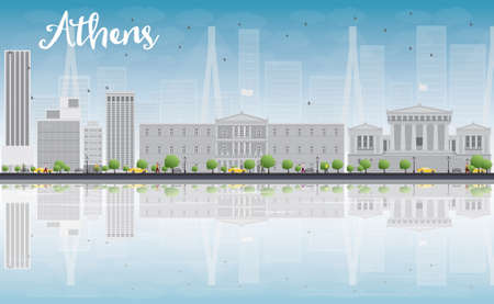 reflections: Athens Skyline with Grey Buildings, Blue Sky and reflections. Vector Illustration