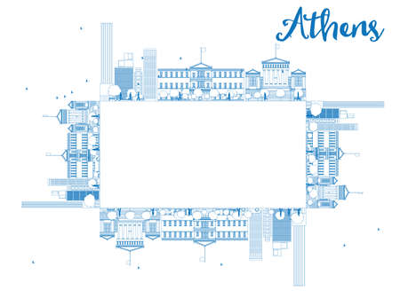 athens: Outline Athens Skyline with Blue Buildings and copy space. Vector Illustration