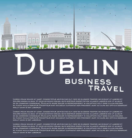 irish cities: Dublin Skyline with Grey Buildings, Blue Sky and copy space. Ireland. Business travel concept. Vector Illustration Illustration