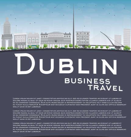 irish landscape: Dublin Skyline with Grey Buildings, Blue Sky and copy space. Ireland. Business travel concept. Vector Illustration Illustration