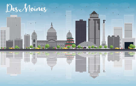 water black background: Des Moines Skyline with Grey Buildings, Blue Sky and reflections. Vector Illustration Illustration