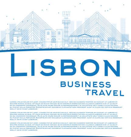 business travel: Skizzieren Lissabon-Stadt-Skyline mit blauem Geb�ude und Kopie Raum. Gesch�ftsreisen Konzept. Vektor-Illustration