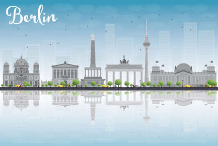 grey sky: Berlin skyline with grey building, blue sky and reflections. Vector illustration