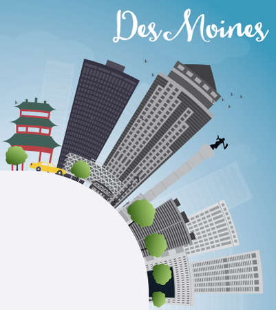 travel destinations: Des Moines Skyline with Grey Buildings and copy space. Vector Illustration Illustration