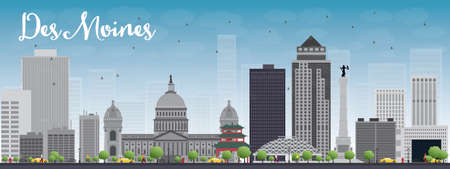 grey sky: Des Moines Skyline with Grey Buildings and Blue Sky. Vector Illustration Illustration