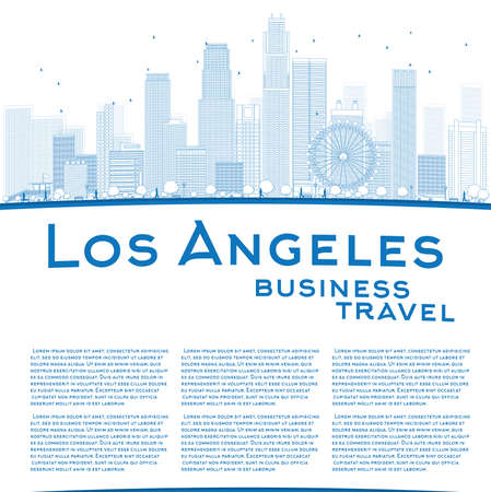 silhouette america: Outline Los Angeles Skyline with Blue Buildings and copy space. Business travel concept. Vector illustration