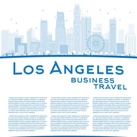 business travel: Skizzieren Los Angeles Skyline mit Blue Buildings und Kopie Raum. Gesch�ftsreisen Konzept. Vektor-Illustration