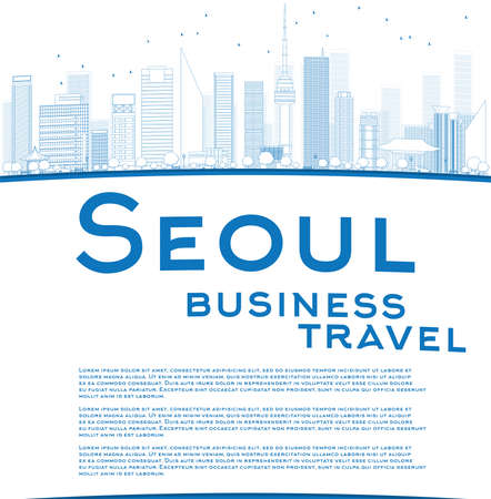 korea: Outline Seoul skyline with blue building and copy space. Business travel concept. Vector illustration