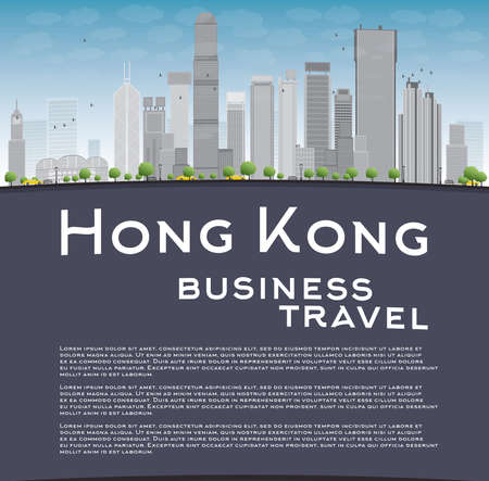 hong kong: Hong Kong skyline with blue sky, taxi and copy space. Business travel concept. Vector illustration