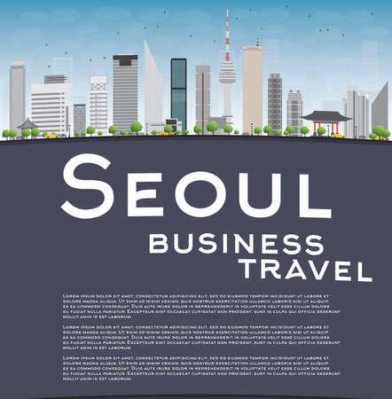 seoul: S�oul horizon avec b�timent gris, bleu ciel et l'espace de copie. concept de Voyage d'affaires. Vector illustration