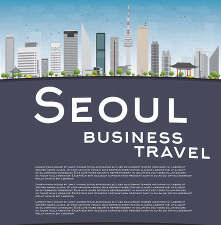 business travel: Seoul skyline with grey building, blue sky and copy space. Business travel concept. Vector illustration