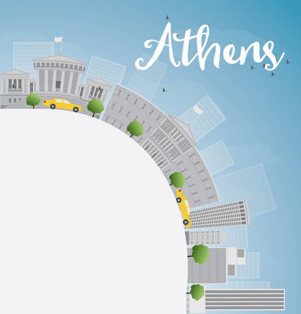athens: Athens Skyline with Grey Buildings, Blue Sky and copy space. Vector Illustration
