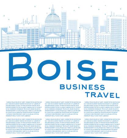business travel: Skizzieren Sie Boise Skyline mit Blue Building und Kopie Raum. Gesch�ftsreisen Konzept. Vector Illustration