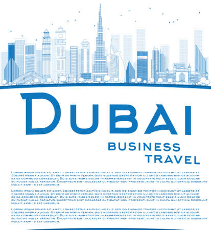 panorama city: Outline Dubai City skyline with blue skyscrapers and copy space. Business travel concept. Vector illustration Illustration
