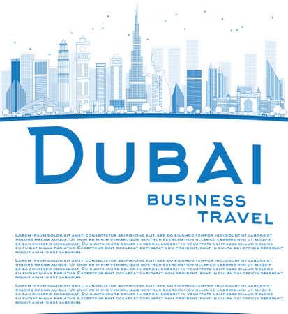 turismo: Outline Skyline Dubai City con grattacieli blu e lo spazio della copia. Concetto di viaggio d'affari. Illustrazione vettoriale