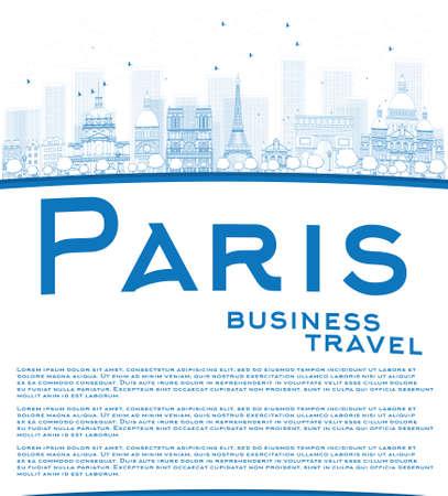 paris skyline: Outline Paris skyline with blue landmarks and copy space. Business travel concept. Vector illustration