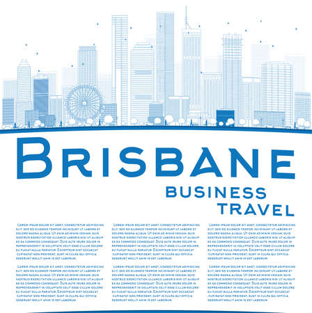 queensland: Outline Brisbane skyline with blue building and copy space. Business travel concept. Vector illustration Illustration