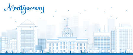 montgomery: Outline Montgomery Skyline with Blue Buildings. Alabama. Vector Illustration